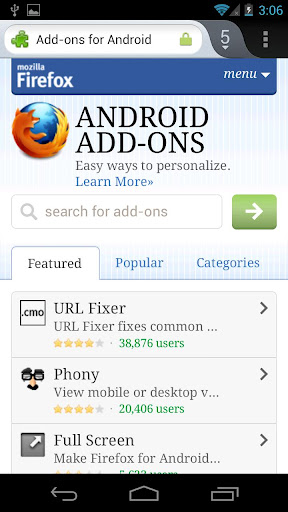 addons Firefox Mobile 14 for Android Released