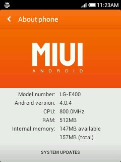 MIUI E400 LG Optimus L3 E400 Gets MIUI Port Based on CyanogenMod 9