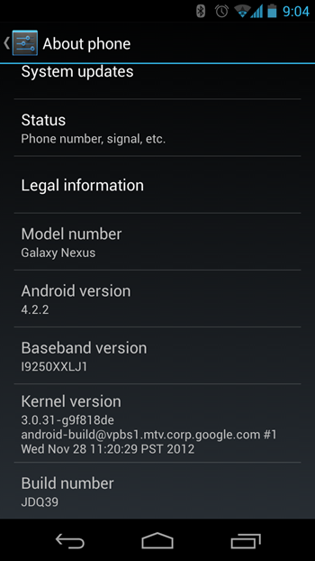 Android 4.2.2 on GSM Galaxy Nexus