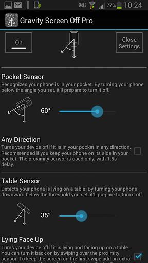 Gravity Screen Off settings