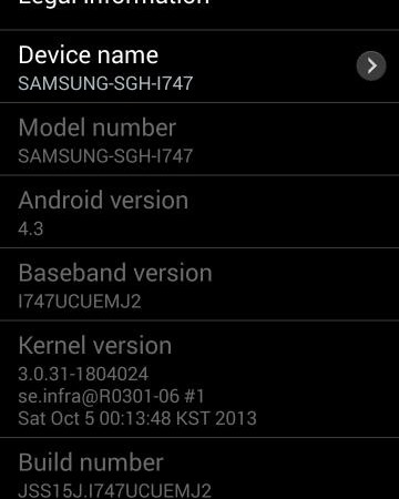 Android 4.3 for AT&T Galaxy S3 I747