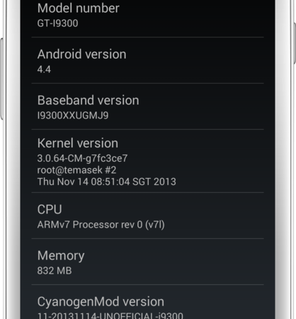 Android 4.4 CM 11 for Galaxy S3