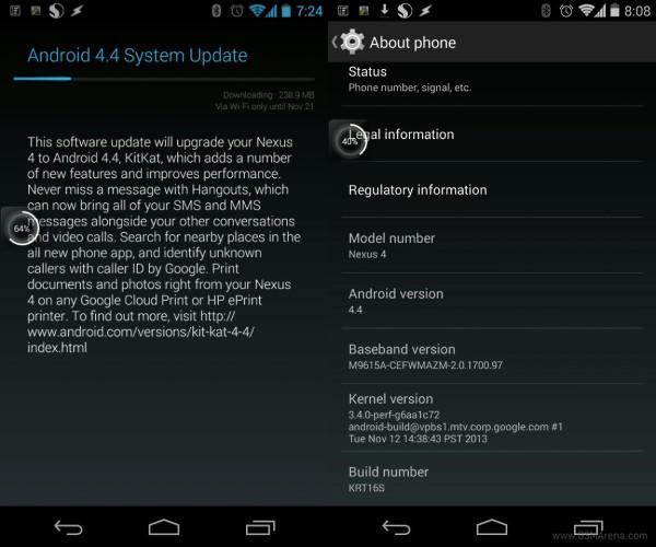 Nexus 4 Android 4.4 stock