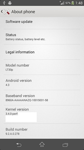 Xperia T Android 4.3 Leaked