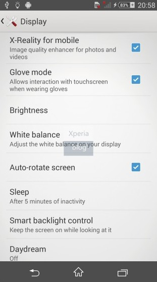 Xperia Glove mode